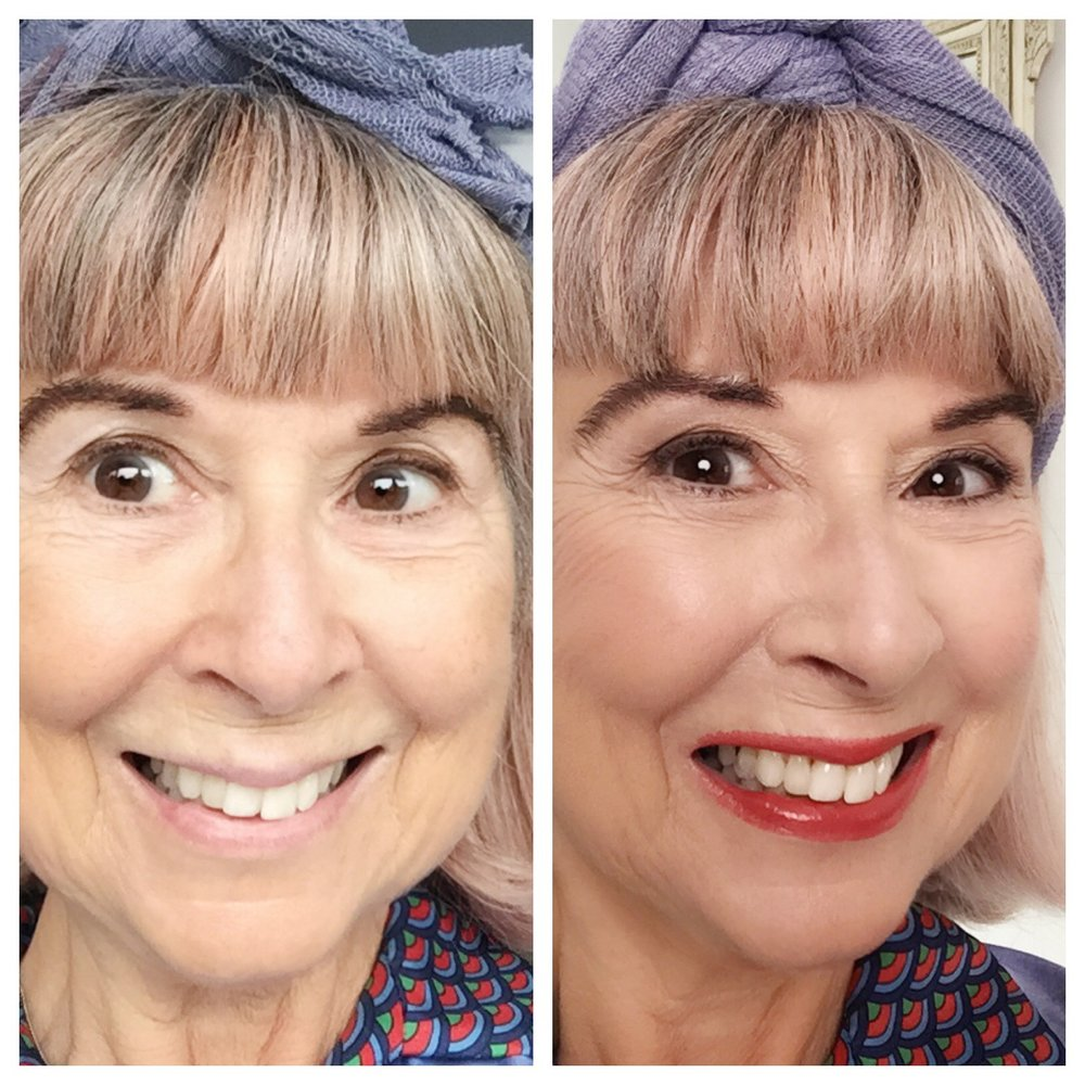 Before and after my make up was applied by a professional.  I have also added filters, such is my vanity, but you will see the real me below!