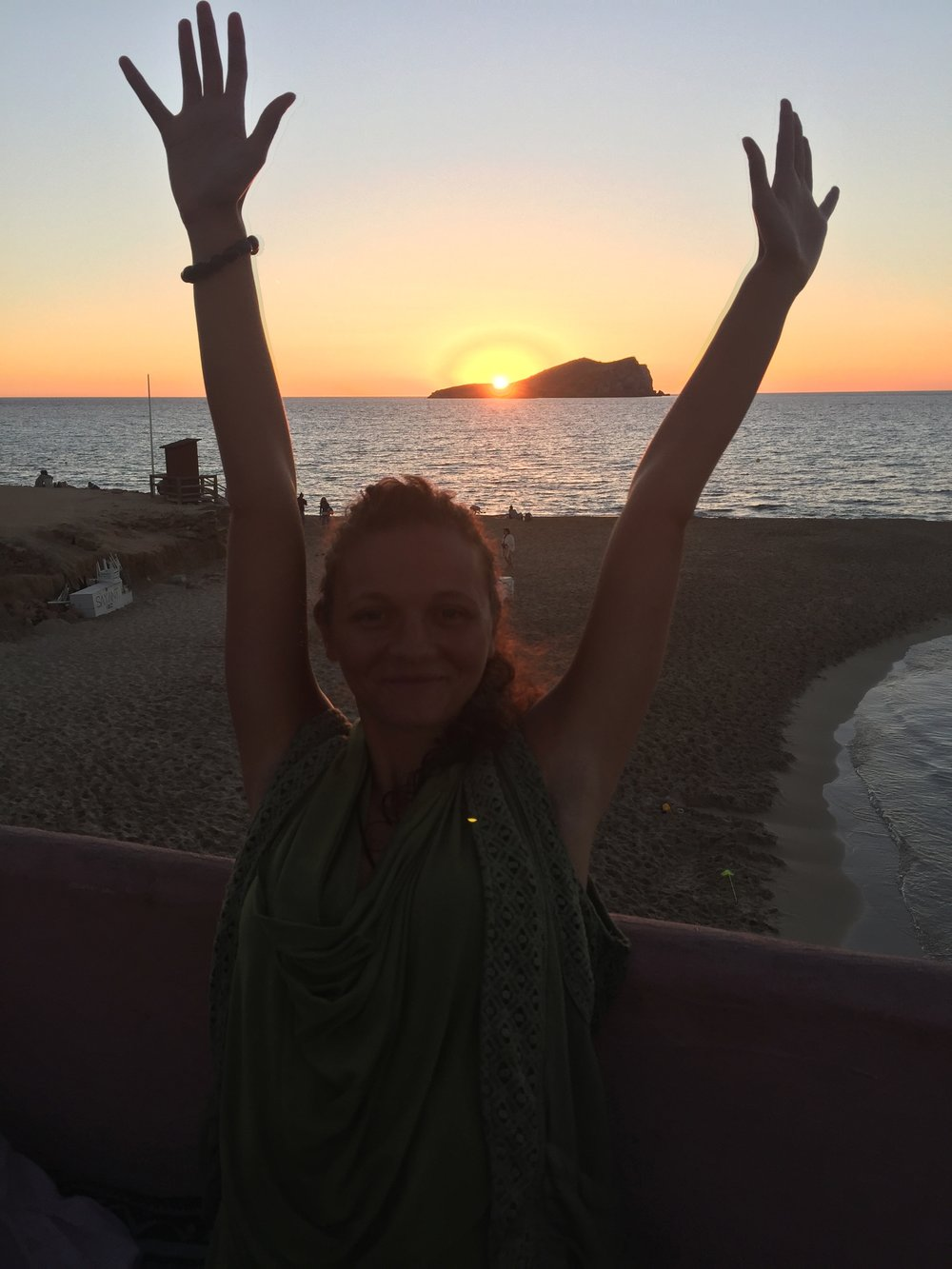 Raving at sunset at the end of a yoga holiday at Mind, Body Retreats, Ibiza.