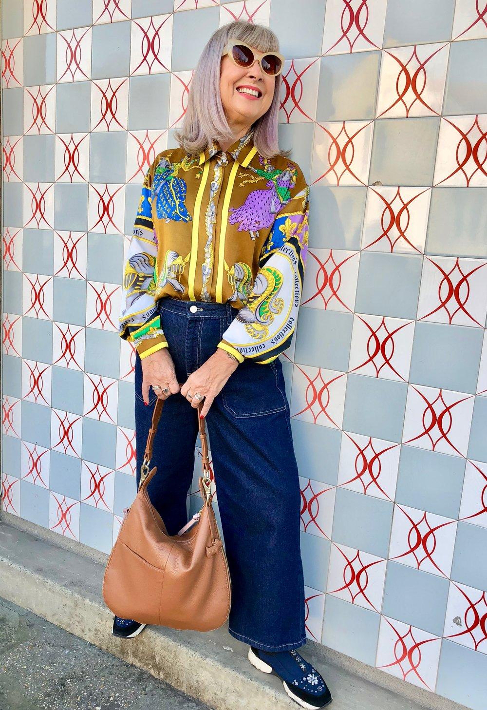 Retro jeans, Radley bag and vintage shirt