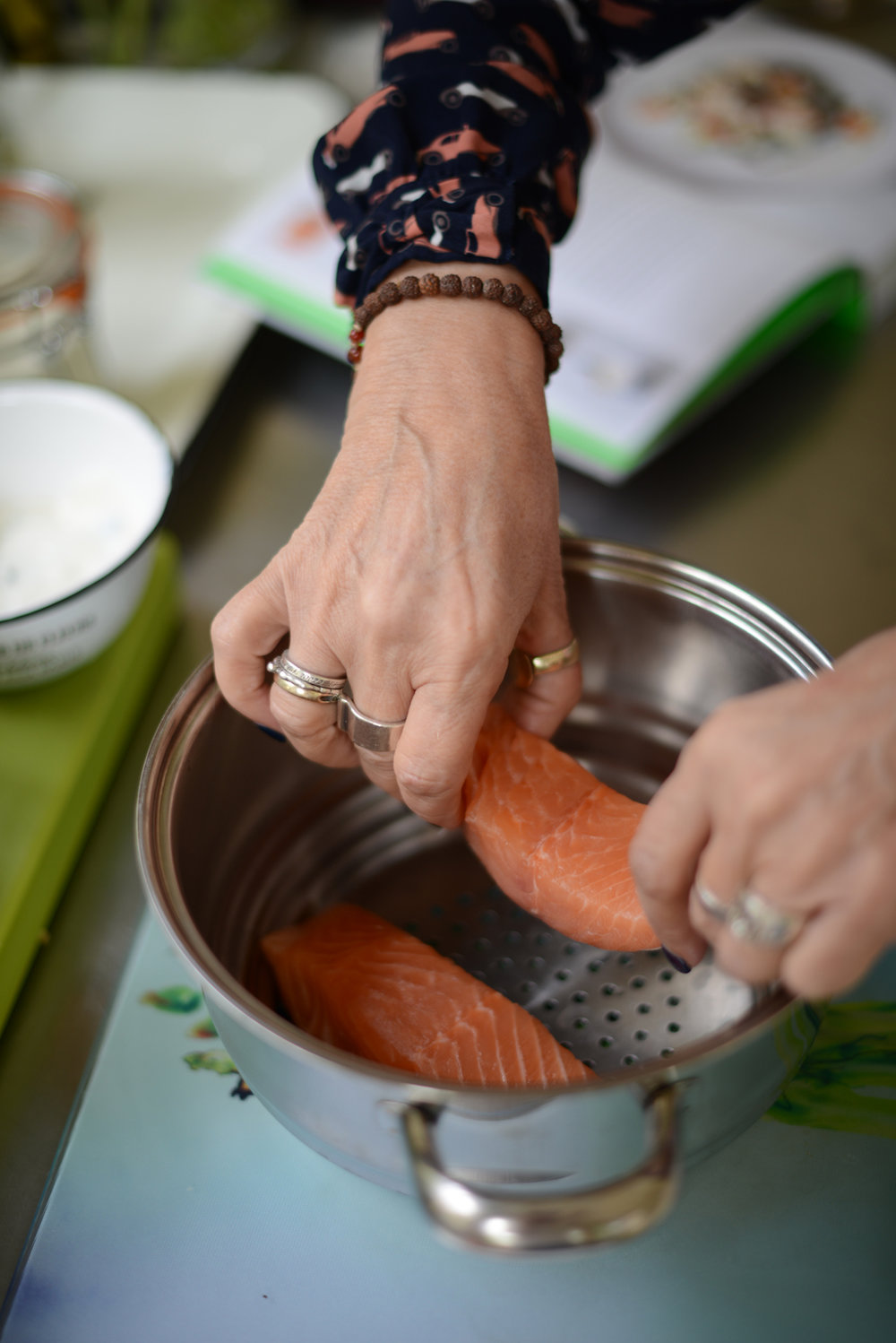 Steam your salmon fillets for a light lunch or supper. Photography by  Notes from a Stylist.