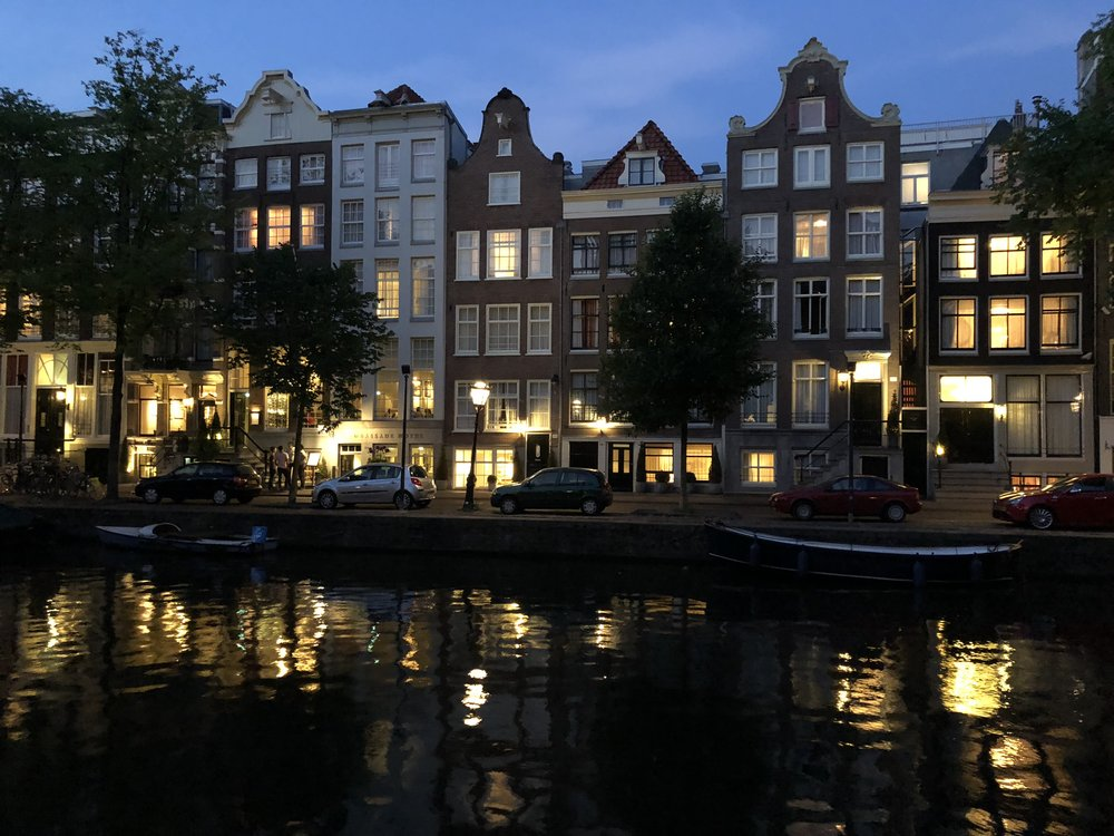 The ambassade hotel from across the canal. night time is spectacular in amsterdam.