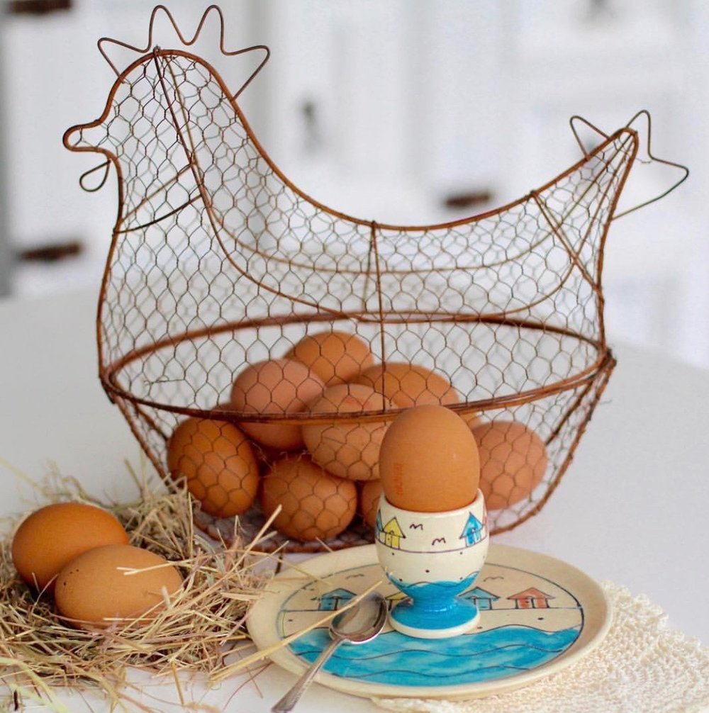 Eggs in egg basket
