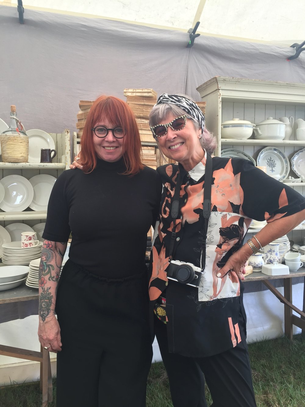 Two bloggers at a brocante fair.jpg