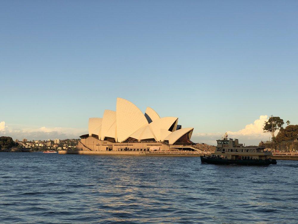Sydney Opera House looking beautiful at sun set.