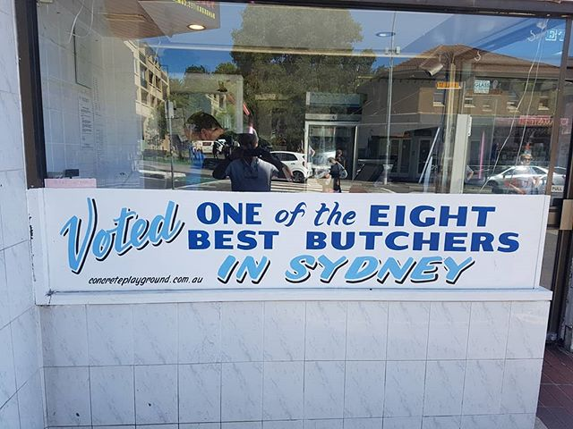 Why eight and not, say, ten? I'm guessing that they came eighth in the comp. And out of how many? Eight? #advertising #advertisement #sign #shop #butcher #sydney #australia