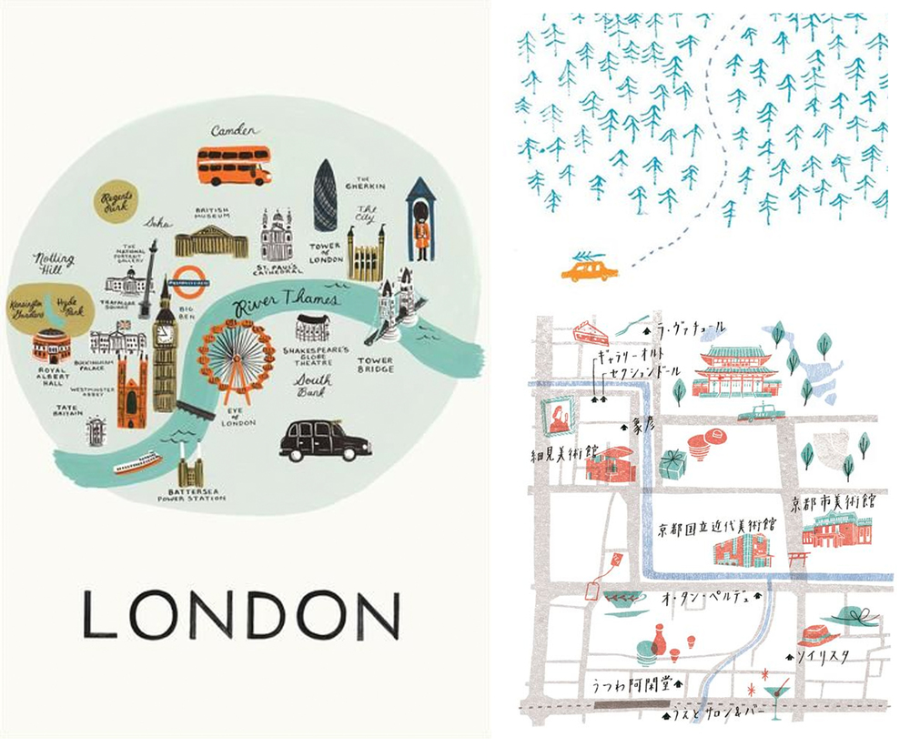 The london map is Rifle paper co, Trees map is by Louise Lockhart and Chinese map is by Masako Kubo.