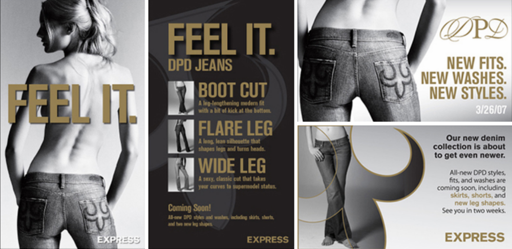 Deluxe Premium Denim instore c  ollateral   Designed floorset,window, instore signage, and handouts in InDesign