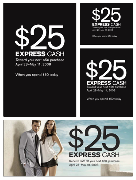 Express Cash instore signage Designed in InDesign