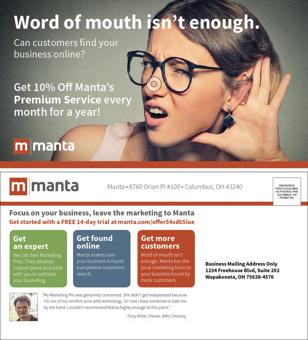 Manta direct mail postcard    Conceptualized and designed in InDesign