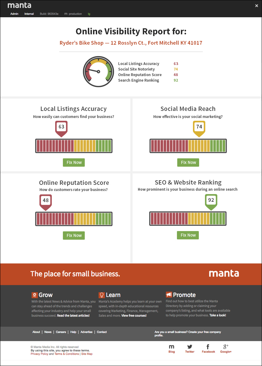 Manta online visibility report   Conceptualized and designed in Photoshop