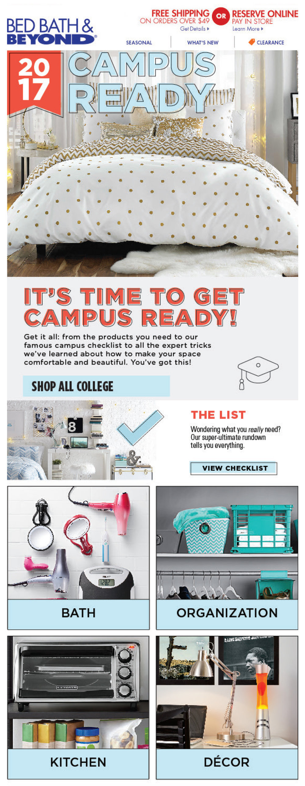Bed Bath & Beyond College email Conceptualized and designed with Photoshop and Illustrator