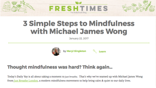 HELLO FRESH /// January 2017 3 Simple Steps to Mindfulness