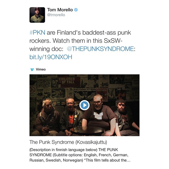 Hello punk brother @tommorello ! 👊 #rageagainstthemachine #fuckyes #pkn #thepunksyndrome