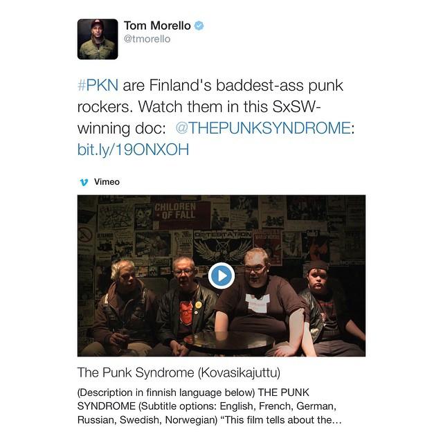 Hello punk brother @tommorello ! 👊 #rageagainstthemachine #fuckyes #pkn #thepunksyndrome