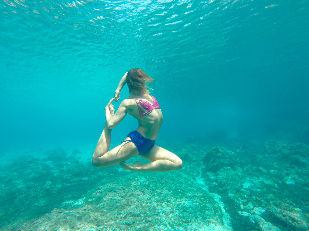 Underwater yoga in Menorca