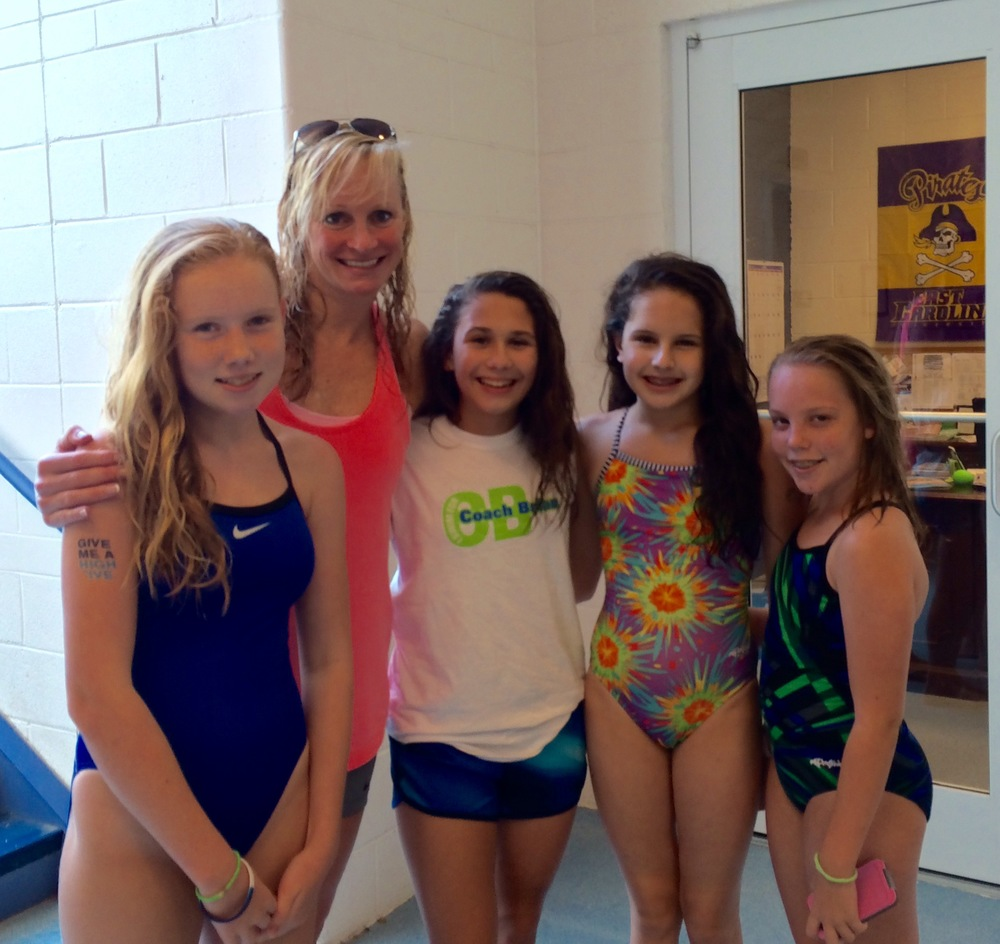 Pictured here with Swim Across America clinic participants.
