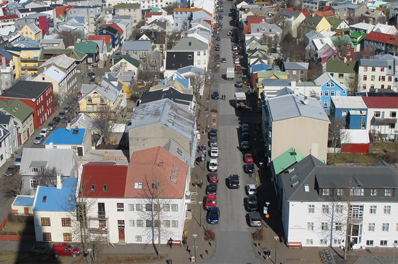 Reykjavik sett fra Hallgrimskirkj.