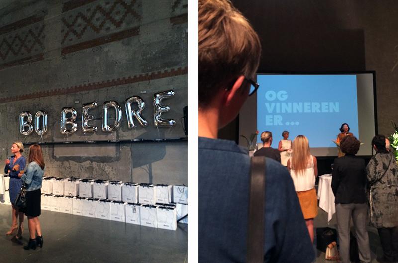 Bo Bedre sin designpris-utdeling på DogA. Prisen for årets designer ble delt ut av selveste Åse Kleveland.