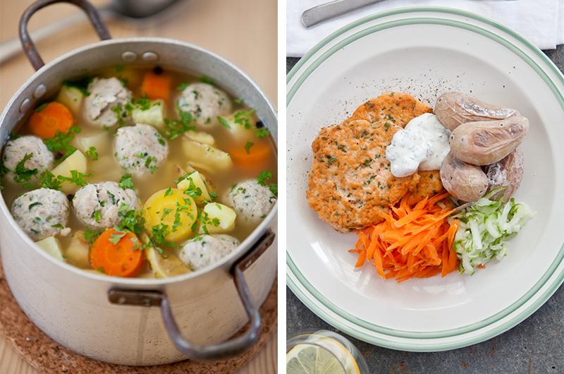 Sunne og enkle middager: Grønnsaksuppe med kyllingkjøttboller på mandag og fiskekaker med saltepoteter og rømmesaus på tirsdag. Foto:  LavFODMAP - Magevennlig mat  ved Espen Edin Døhlen