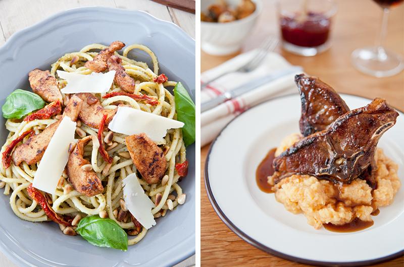 Frister det med pasta med pesto og kylling på mandag? Eller hva med lammekoteletter med rotmos på onsdag? Foto: LavFODMAP - Magevennlig mat ved Espen Edin Døhlen