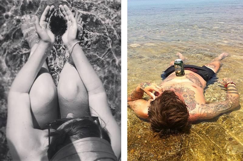 Jeg ble fascinert av de store kråkebollene i vannet, mens Espen nøy sola og det varmevannet med en øl på magen.