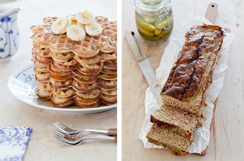 Start helgen med bananvafler med bokhvete, og server med frukt og bær. Bruk søndagen til å lage hjemmelaget leverpostei. Det er lettere enn du tror og smaker utrolig godt. Lag gjerne dobbel porsjon slik at du kan fryse ned og ha til senere. Foto:  Magevennlig mat  - Espen Døhlen