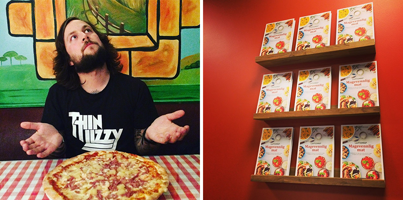"""Venstre: Espen sparer til langt hår og skjegg for tiden og ser dermed litt ut som Jesus. Og pizza var """"himmelsk god""""... Høyre: Litteraturhuset i Bergen har stilt ut Magevennlig mat."""