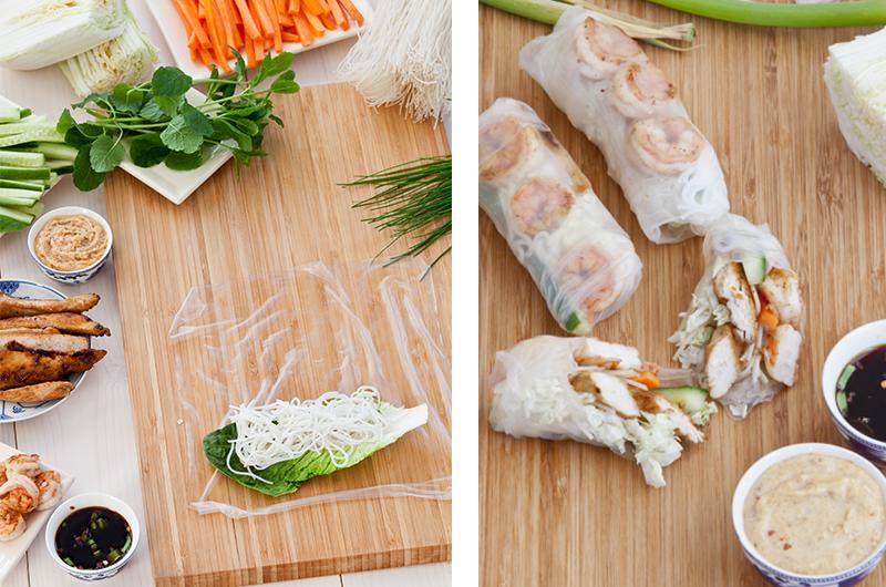 Lag klassike sommerruller sammen, så kan alle velge hva de selv vil ha i. Server med lun peanøttsaus! Foto: Magevennlig mat ved Espen Døhlen