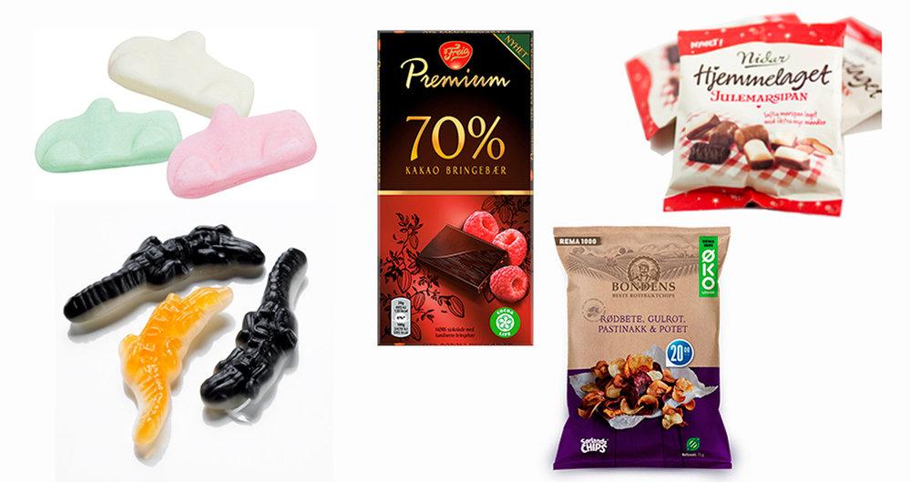 Eksempel på godter: krokodiller, biler, mørk sjokolade, rotchips og bittelitt marsipan. Husk å ikke spise store mengder, men kos deg med små porsjoner!