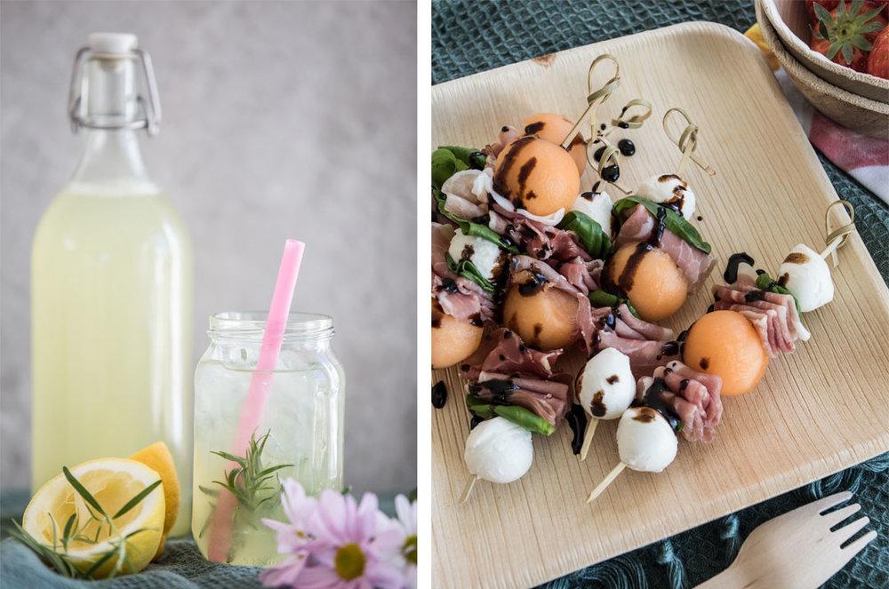 Limonade med vanilje, rosmarin og mynte og  Piknikspyd