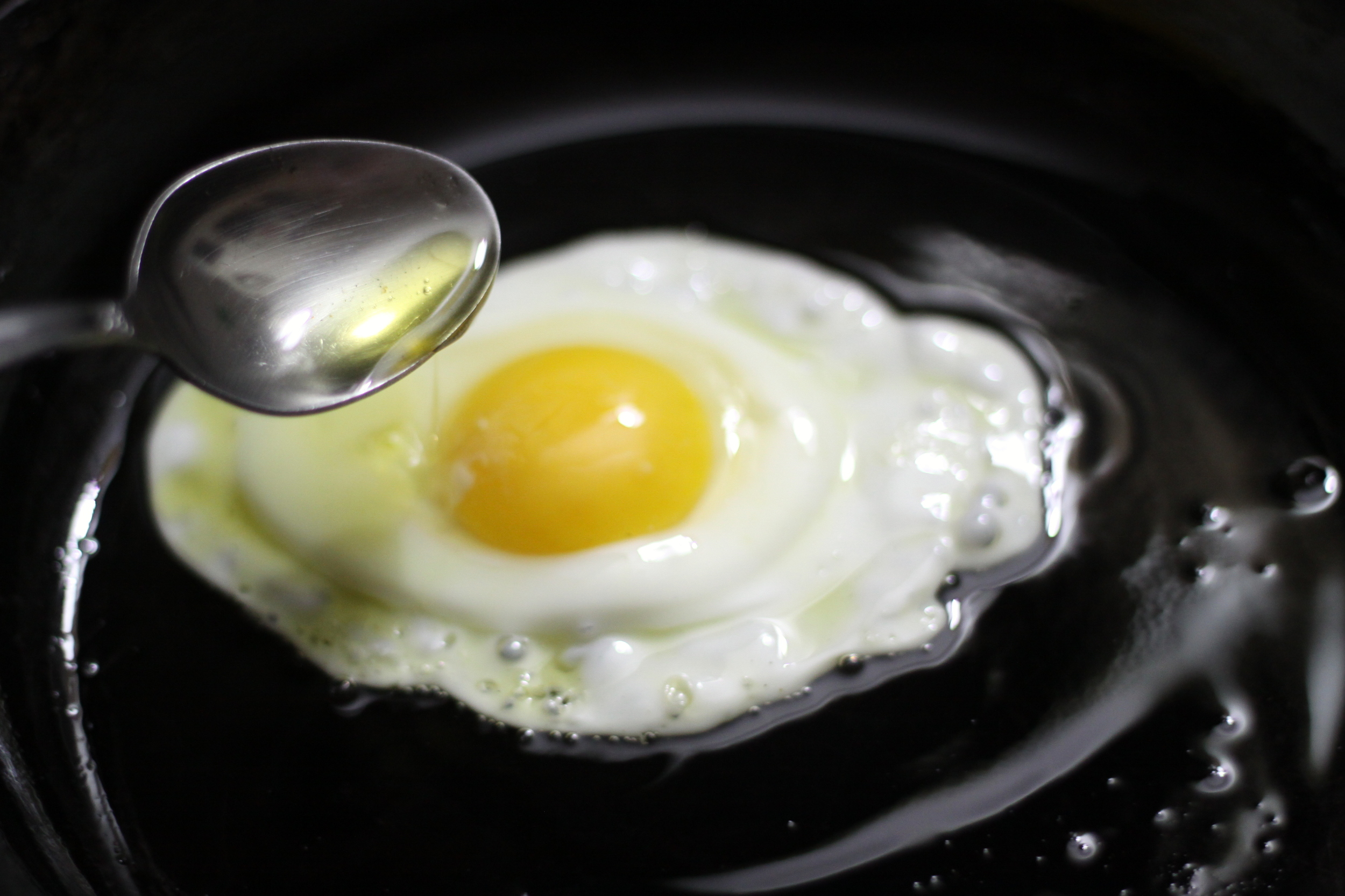 frying an egg in oil