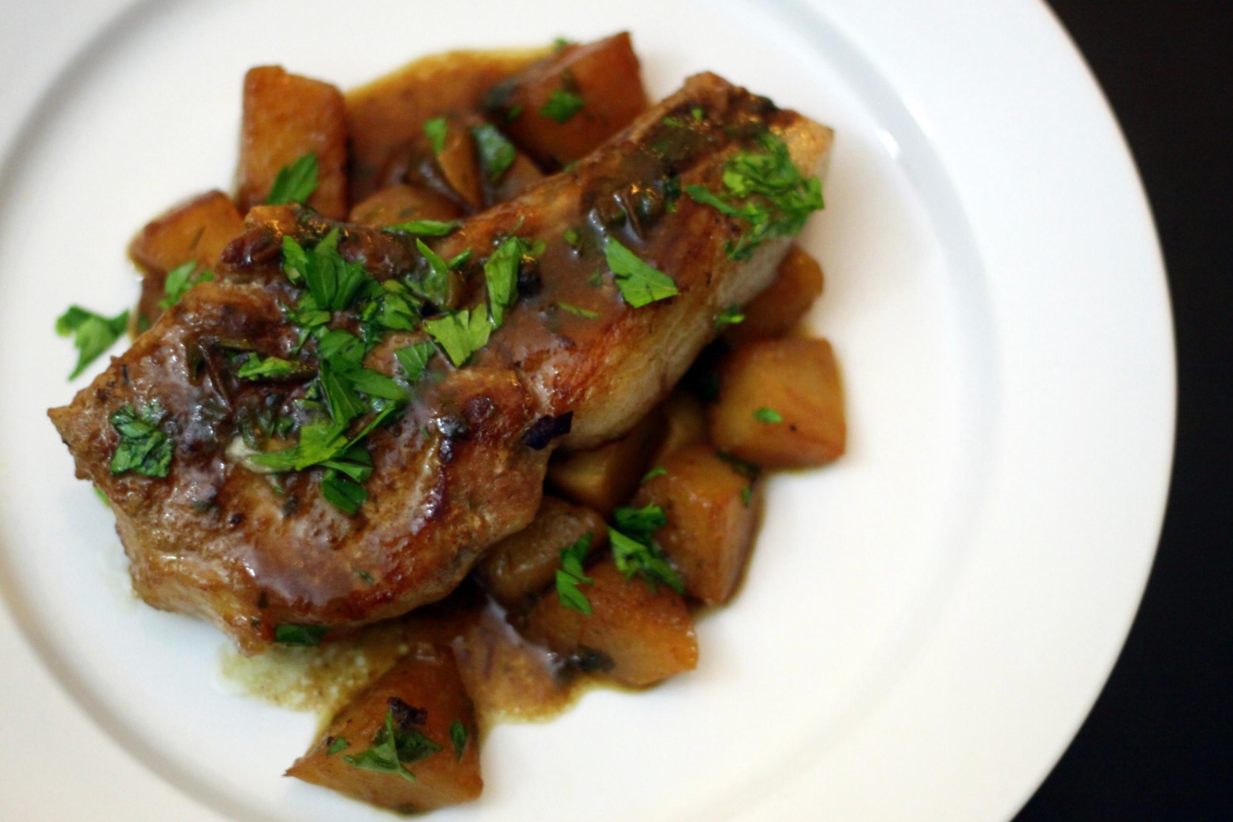 pork chops and turnips