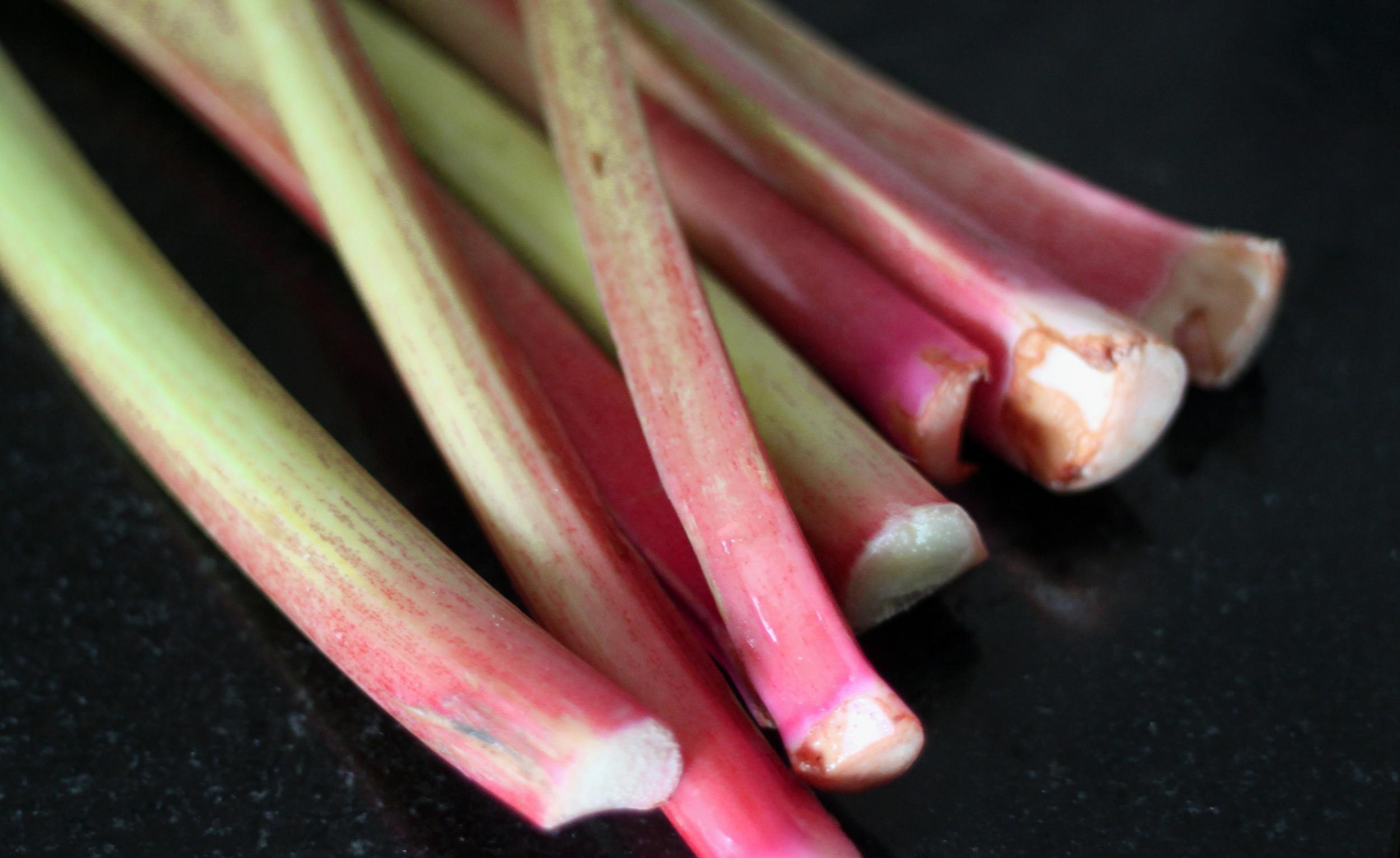 washed rhubarb