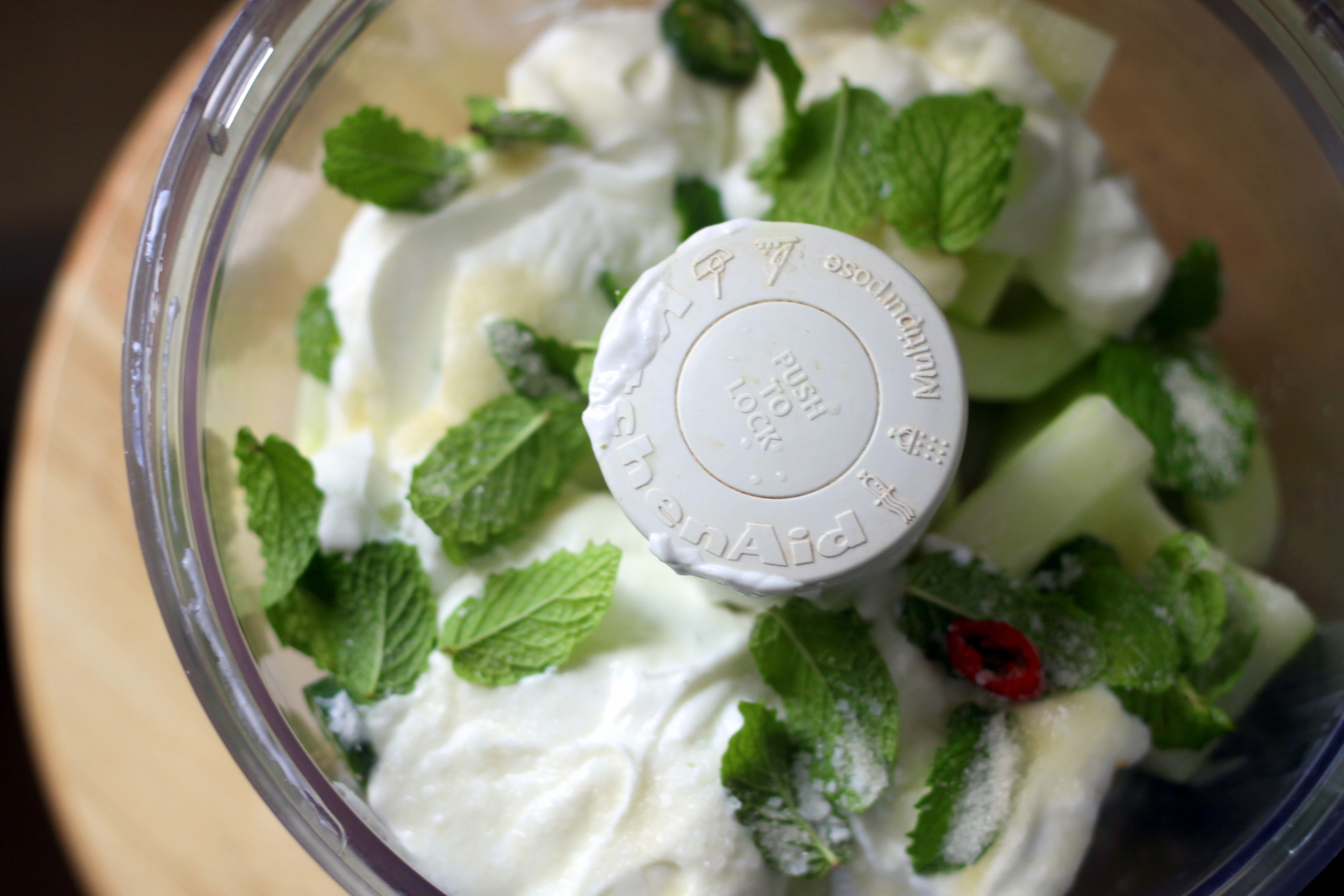 cucumber and mint in food processor