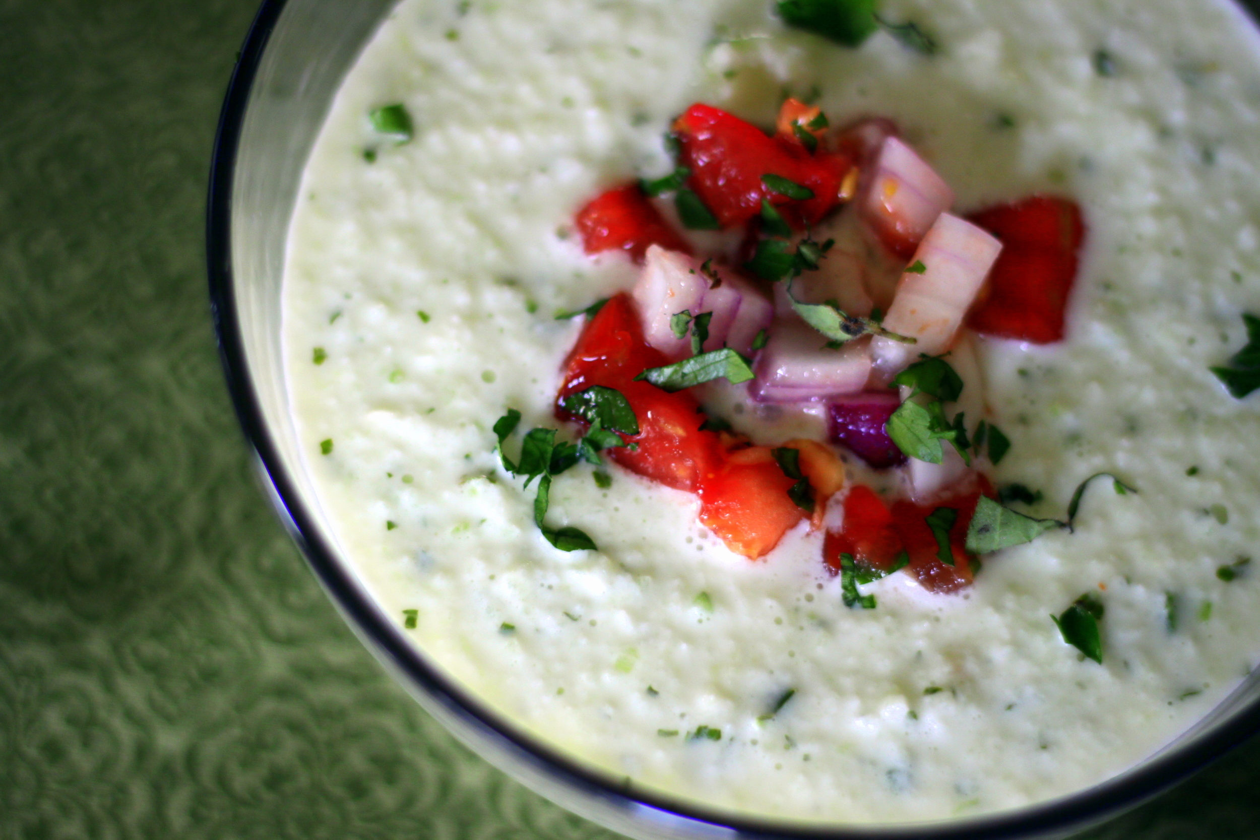 cucumber mint soup with tomato and onion