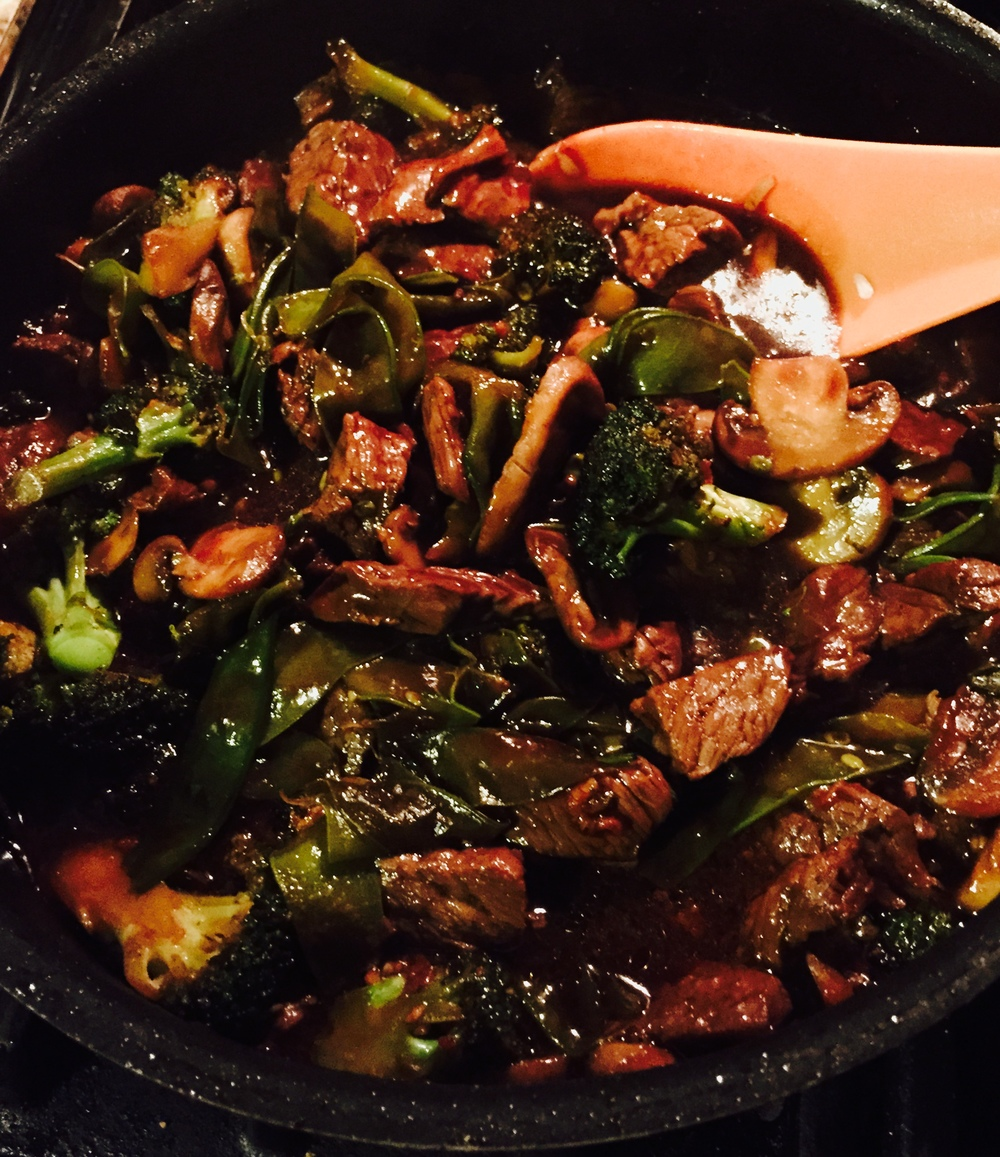 When cooked, nettles provide a nutty flavor to this beef stir fry.