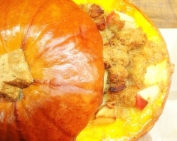 Stuffed Roasted Pumpkin Filled with Many Good Things
