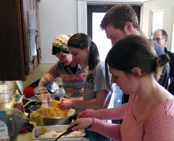 Kim Griffin and friends preparing a meal at COTS. Kim Griffin/photo.