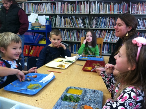 Students at Shrewsbury Mountain School enjoy fresh food from by The Good Food Bus.Lindsay Arbuckle Courcelle/photo.