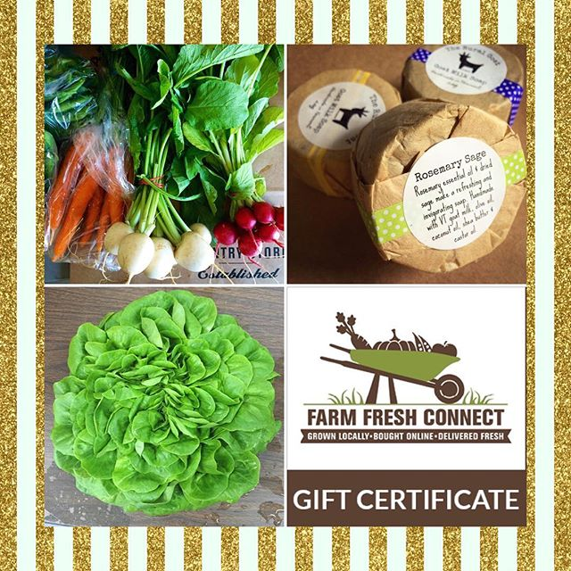 Looking for a unique holiday gift idea that keeps on giving? How about a gift certificate to Farm Fresh Connect - an online ,year round local food market that conveniently delivers to drop-off sites in Rutland County and Bennington County. Click here to purchase now : http://bit.ly/2hseBmj
