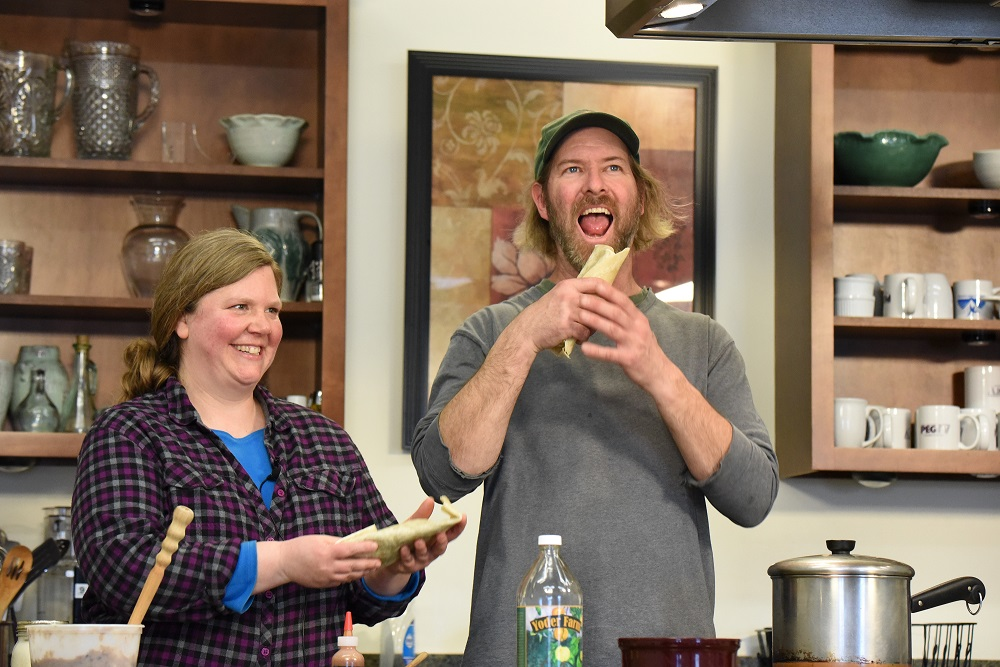 Grace Davy, Everyday Chef Coordinator, and Ryan Yoder, of Yoder Farm, on our PEG-TV cooking series