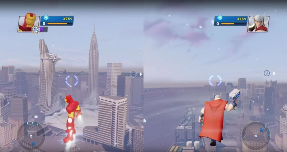 Disney Infinity 2.0 Play Set split screen play on console, not supported on PC.