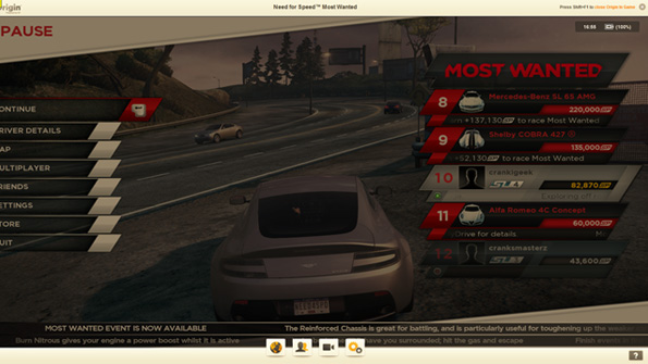 Need for Speed: Most Wanted (2012) with the Origin In-Game overlay enabled.