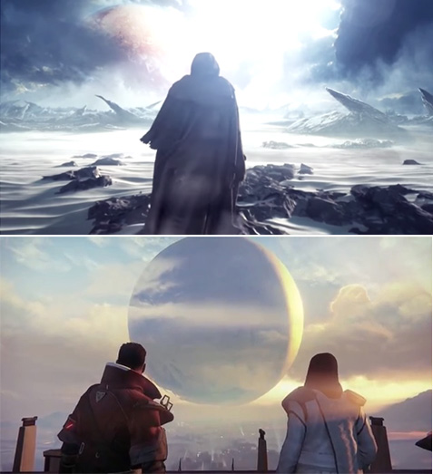 Screenshots from the 2013 trailers for the next version of Halo (now from 343Industries) and Destiny.   If you look closely there's a certain similarity.