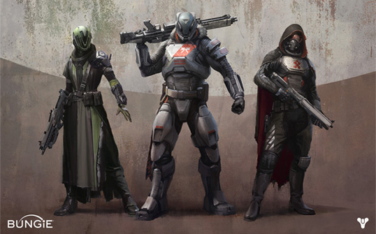 The Guardian classes of Destiny a Hunter, a Titan and a Warlock.
