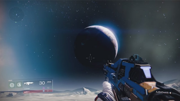 The Earth as seen from the Moon on Destiny. The Earth rotates as well it appears. Screenshot taken from the Destiny review by Angry Joe on YouTube.
