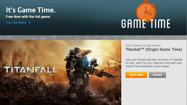 Titanfall for Windows free for 48 hours via Origin Game Time.