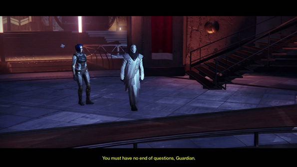 "A Guardian meeting with the Speaker (voiced by Bill Nighy) for the first time. ""You must have no end of questions, Guardian"" he says. Screenshot taken from game play by theRadBrad on YouTube."