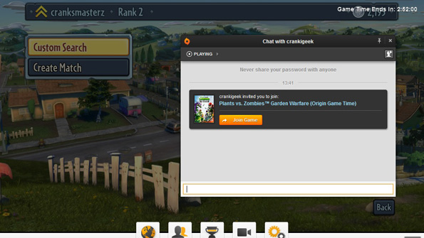 Accepting a friend invite using Origin In-Game for Plants vs. Zombies Garden Warfare.
