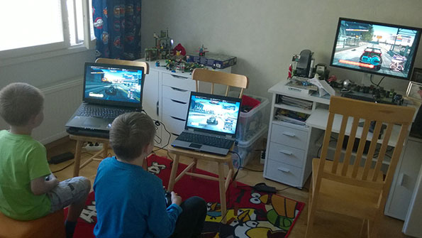 My son and his friend preparing for a Freeburn Online session. And smashing up Dad's car if he chooses a Police vehicle and turns on the siren.